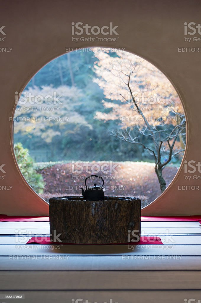 Round window of Meigetsu-in stock photo