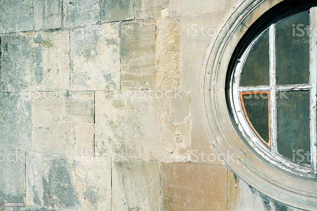 Round window on Pulteney Bridge in Bath England stock photo