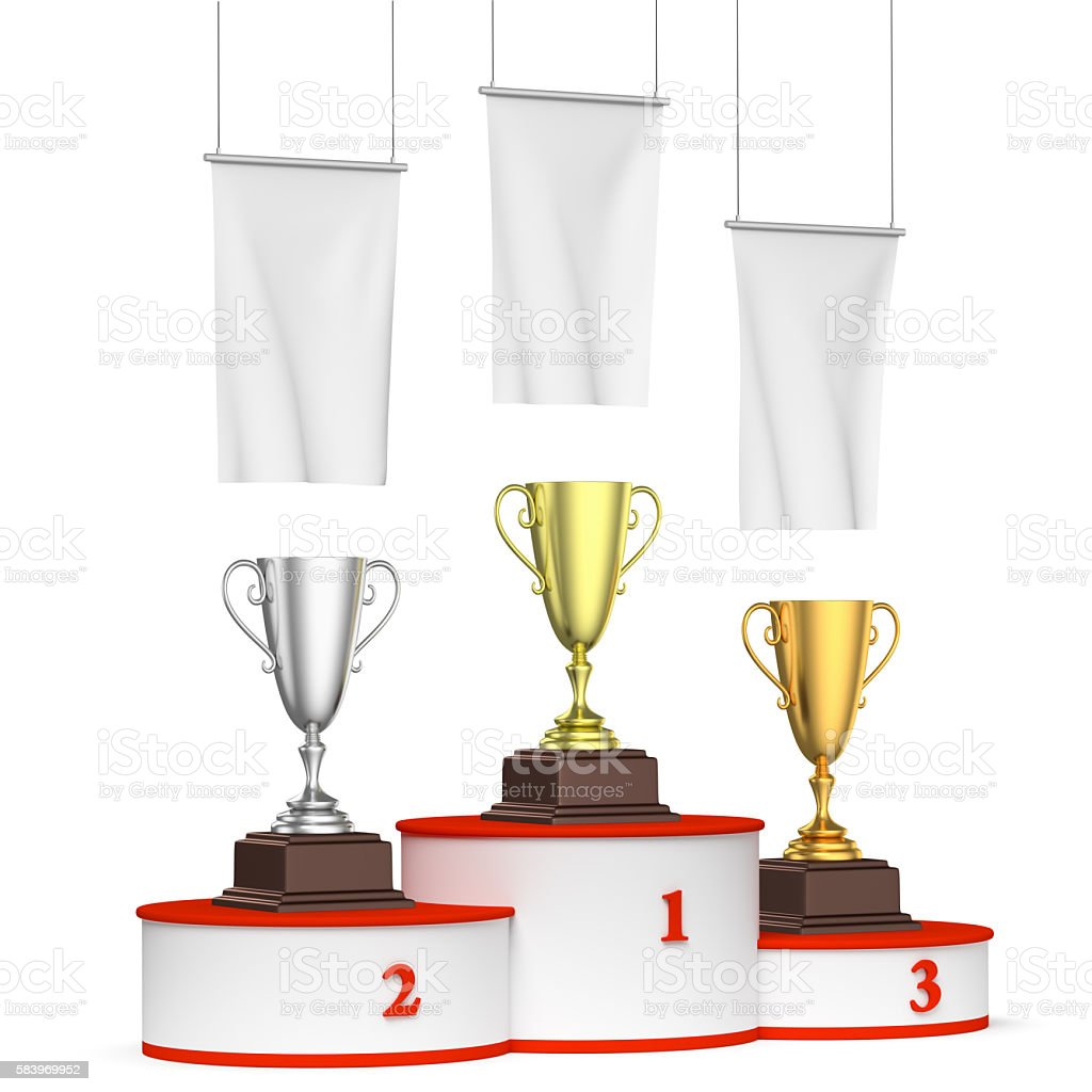 Round winners podium with trophy cups and blank white flags stock photo