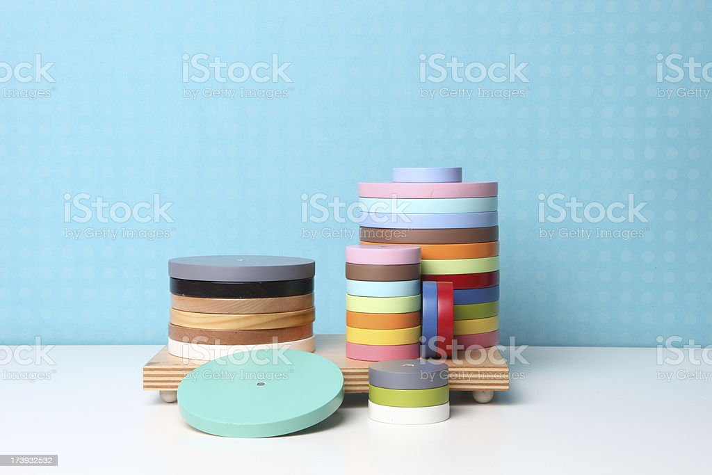 round wood stain swatches royalty-free stock photo