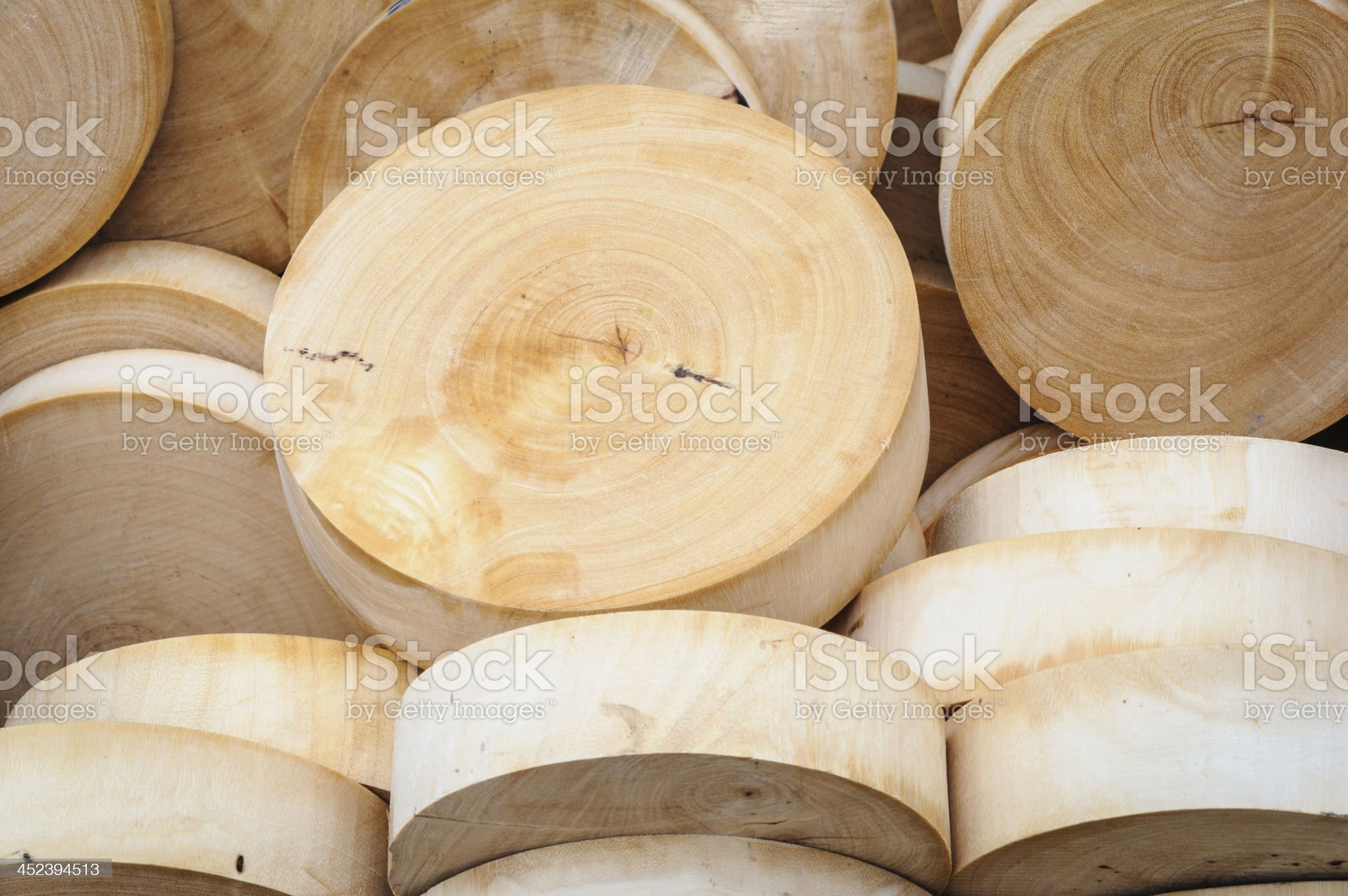 Round wooden cutting boards in market. royalty-free stock photo