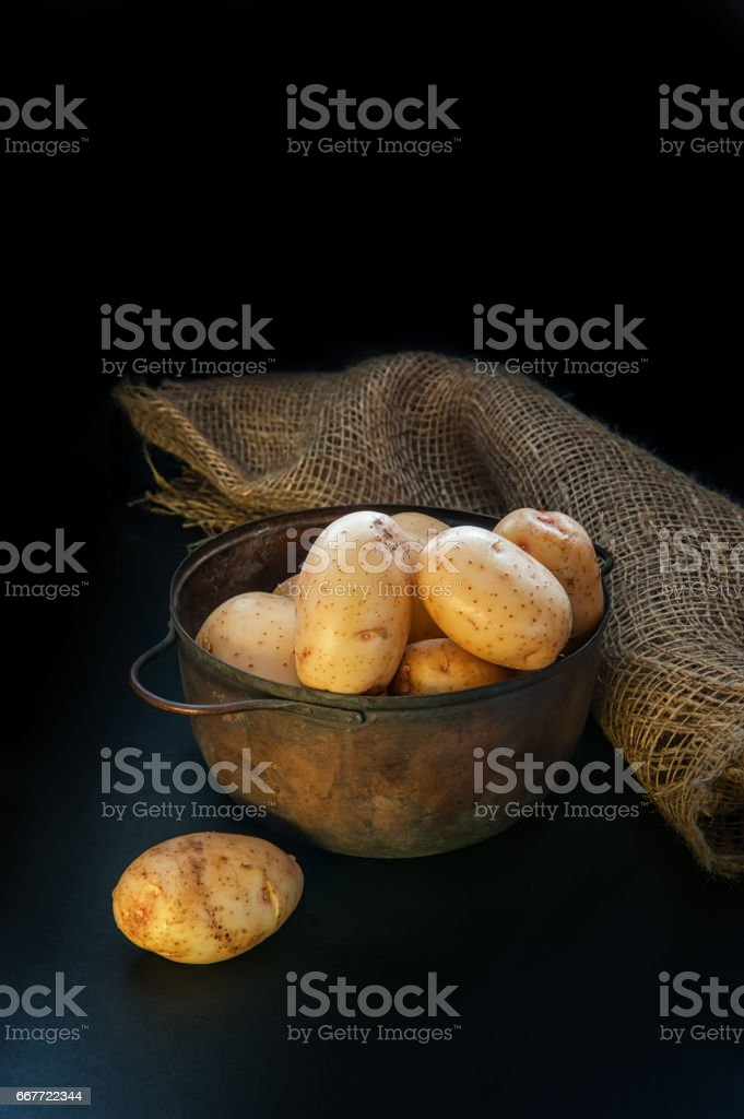 round yellow potatoes lying in the pot and on the table the lighting is low key stock photo