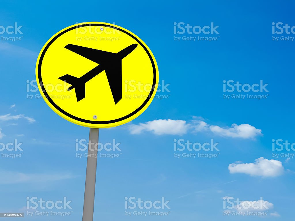 Round Yellow Road Sign Airport Symbol, Cloudy Sky, 3d illustration stock photo