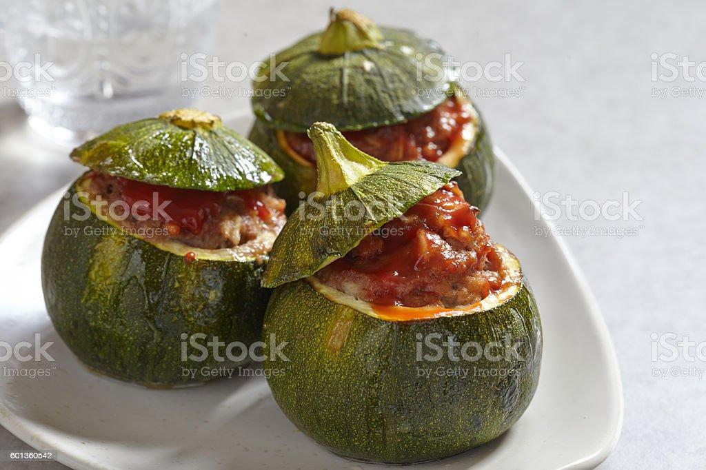 Round zucchini stuffed with meat stock photo