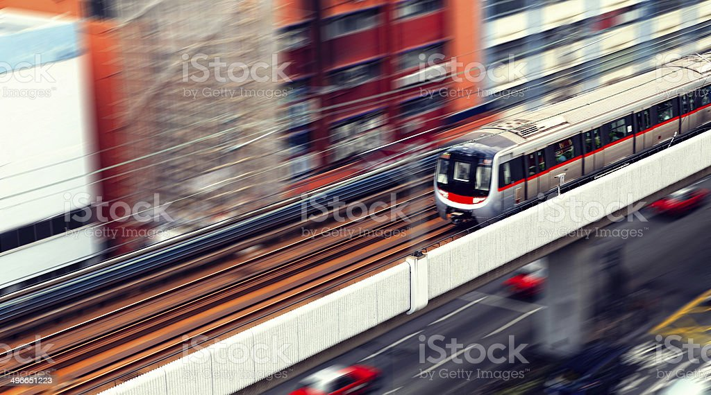 roundabout and train traffic stock photo