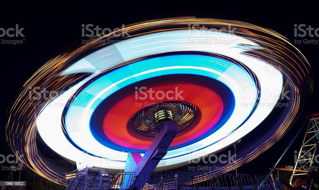 roundabout at night stock photo