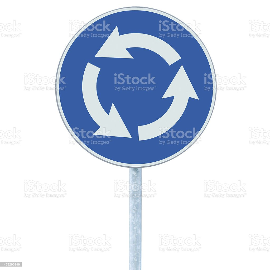 Roundabout crossroad road traffic sign isolated, blue, white arrows right stock photo