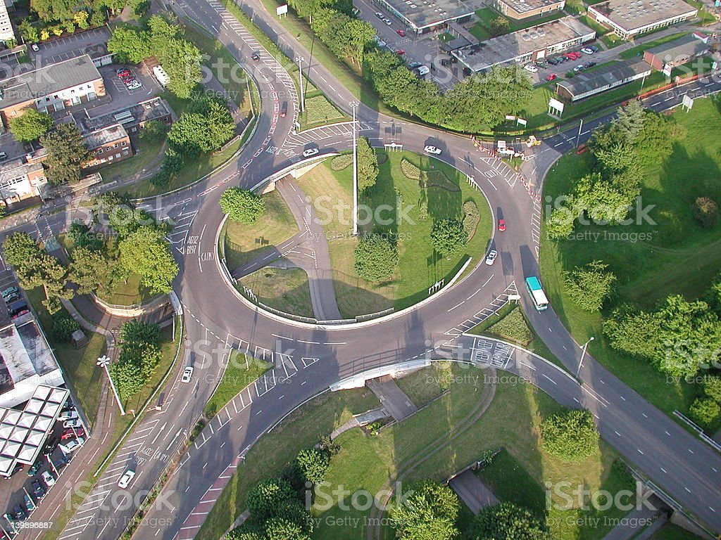 Roundabout from the air stock photo