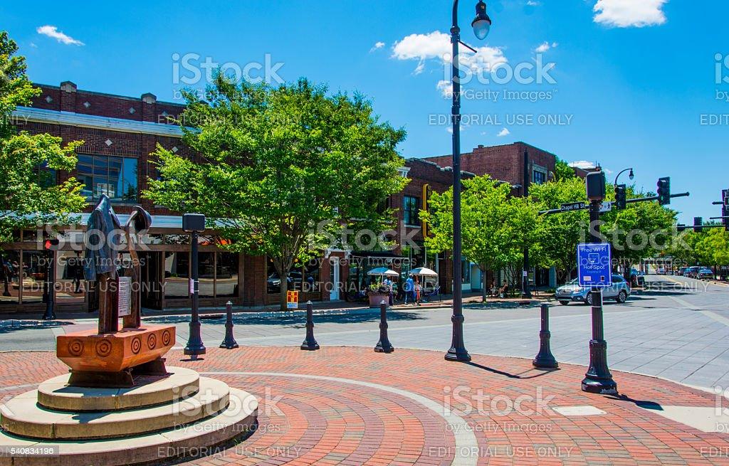 Roundabout in Durham, North Carolina stock photo