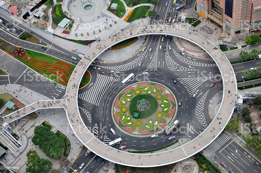 Roundabout in Shanghai China royalty-free stock photo