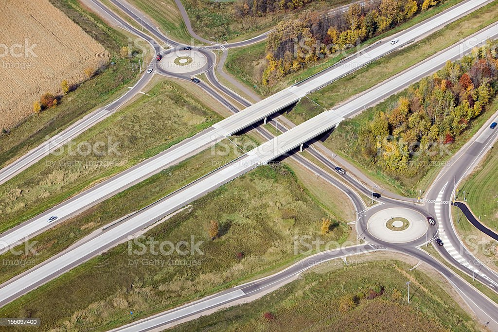 Roundabout Interchange, Freeway Exit and Entrance Ramps Aerial royalty-free stock photo