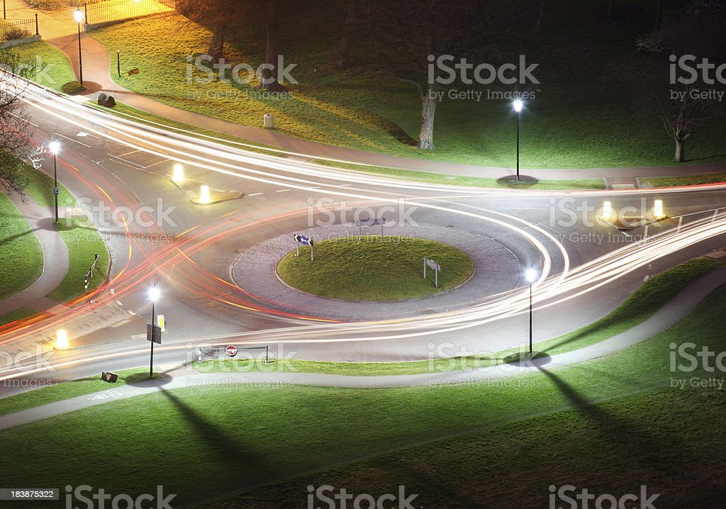 Roundabout lights stock photo