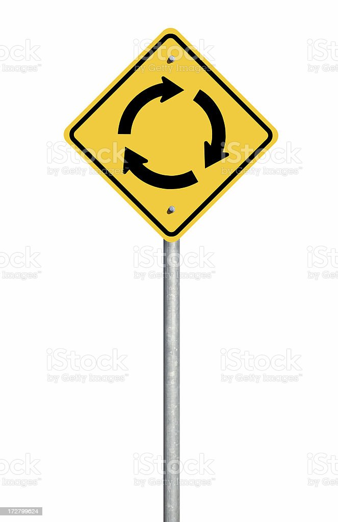 Roundabout Road Sign stock photo