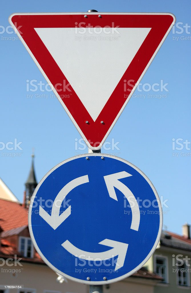 Roundabout sign stock photo