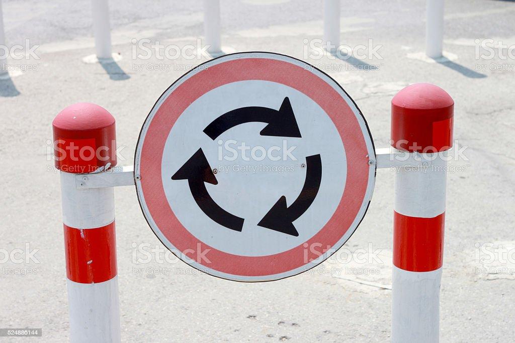 Roundabout sign. stock photo