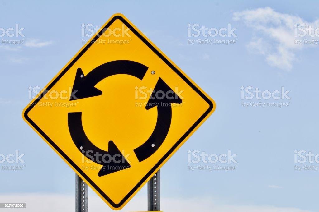 Roundabout sign stock photo