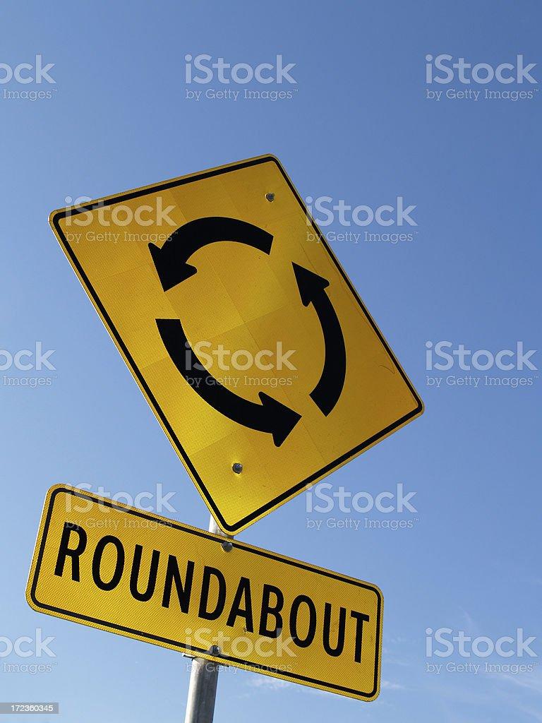 Roundabout / traffic circle sign stock photo