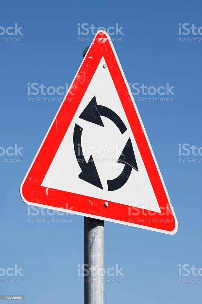 Roundabout Warning Sign for right-hand traffic stock photo