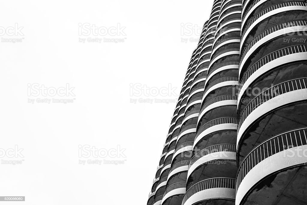Rounded Balconies of Skyscraper Building stock photo