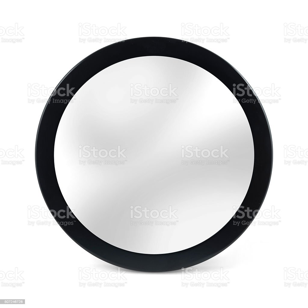 Rounded mirror in black frame - isolated on white stock photo