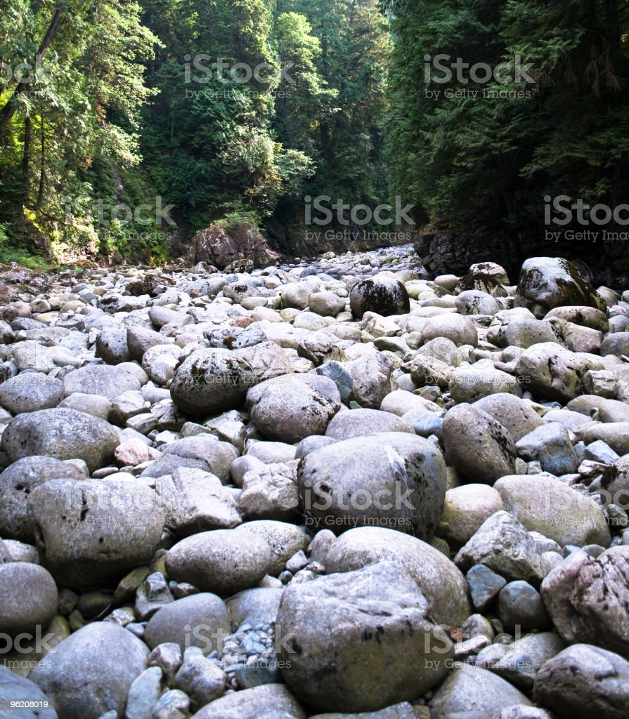 Rounded rocks Capilano Canyoun, BC stock photo