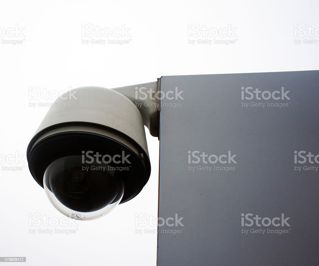 Rounded surveillance camera stock photo