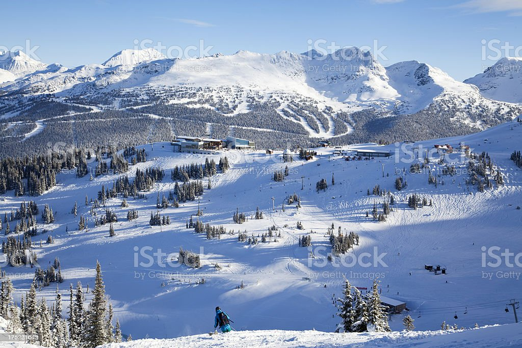 Roundhouse at Whistler With Blackcomb in Background royalty-free stock photo