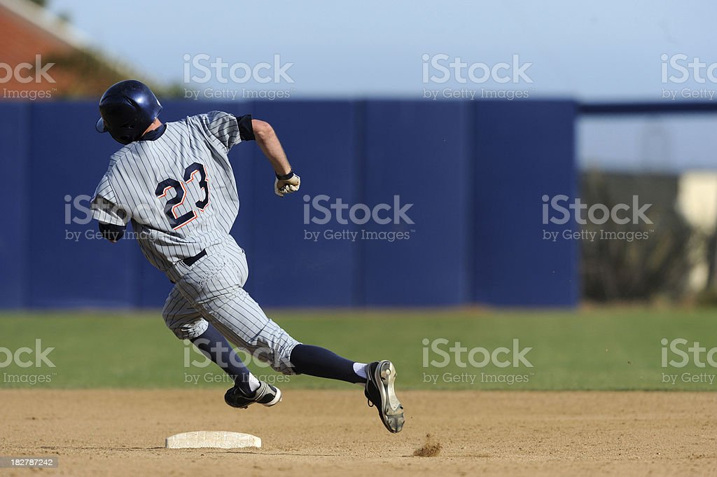 Rounding second base stock photo