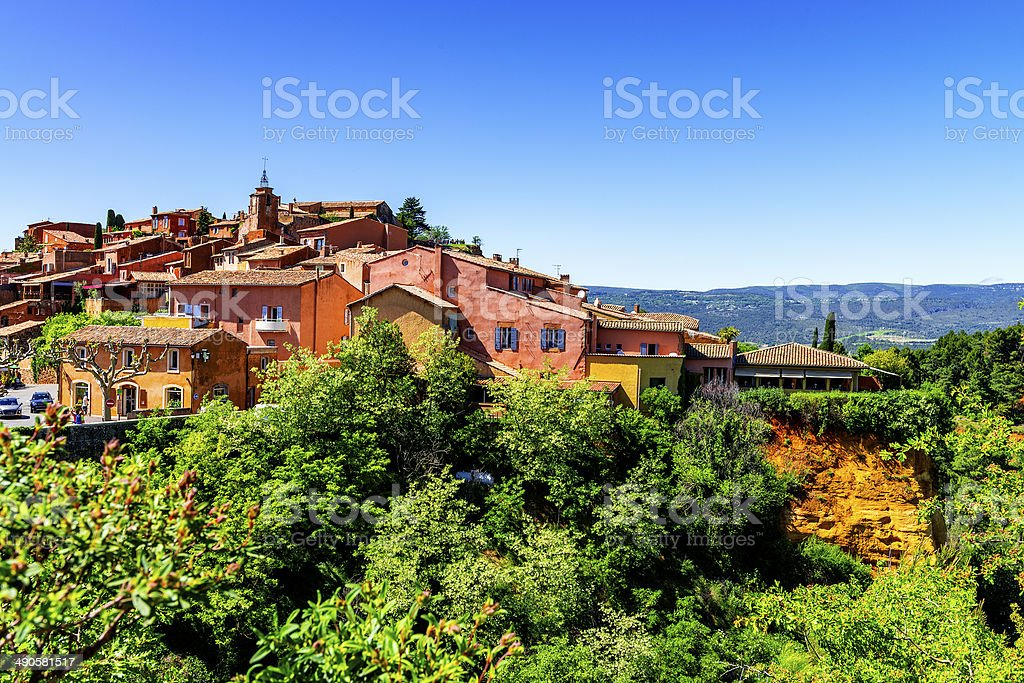 Roussillon village stock photo