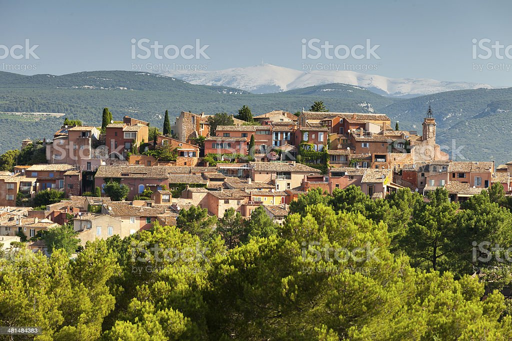 Roussillon village with Mount Ventoux, Provence, France stock photo