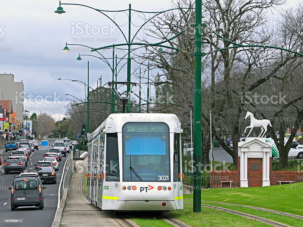 Route 109 tram arriving Box Hill with iconic White Horse stock photo