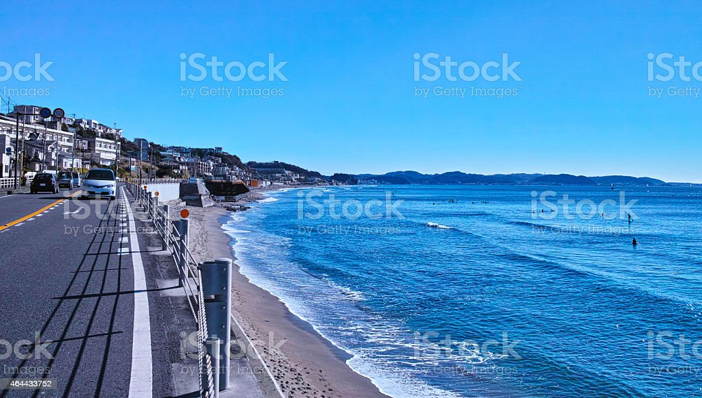 Route 137 and Sagami Bay stock photo
