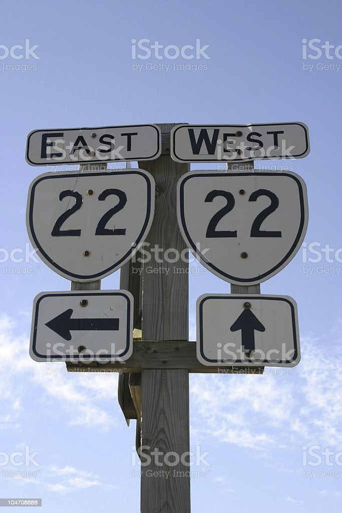 Route 22 sign stock photo