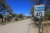 Route 40 with sign, Cafayate, Argentina