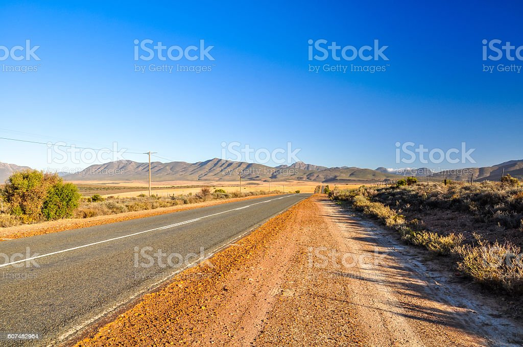 Route 62 road near Oudtshoorn - Western Cape, South Africa stock photo