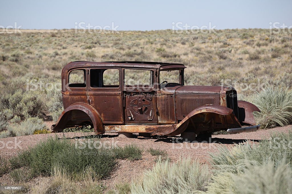 Route 66 - Abandoned Car royalty-free stock photo