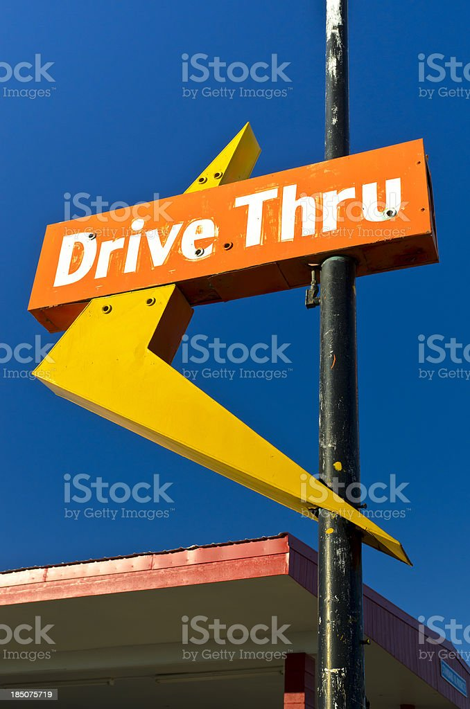 Route 66 Americana Abandonded Drive Thru Neon Arrow Sign royalty-free stock photo