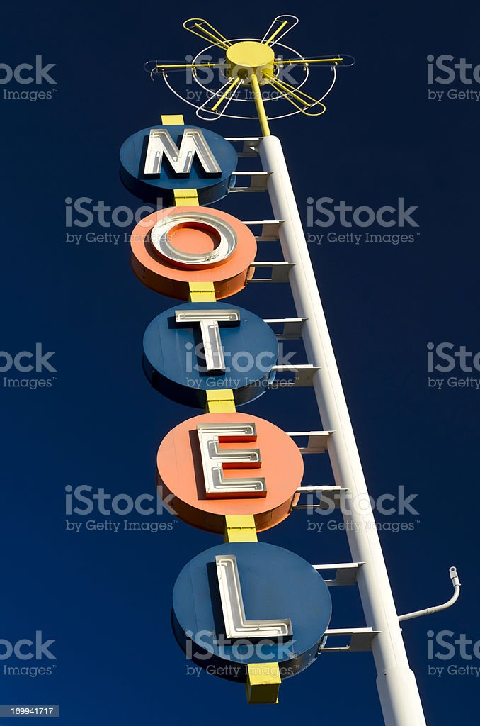 Route 66 Americana Classic Neon Motel Sign royalty-free stock photo