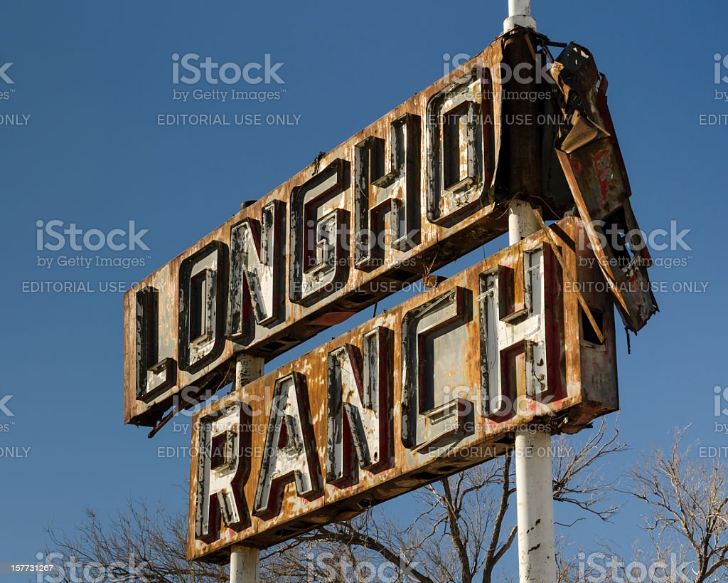 Route 66 Americana Historic Damaged Neon Sign Longhorn Ranch Motel royalty-free stock photo