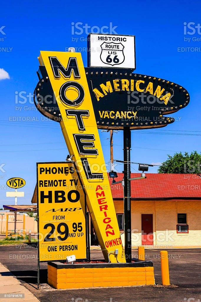 Route 66 Americana Motel sign in Tucumcari, New Mexico stock photo