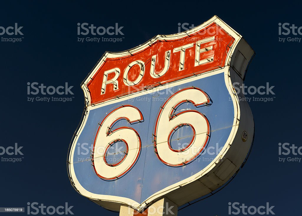 Route 66 Americana Red and Blue Neon Highway Sign royalty-free stock photo