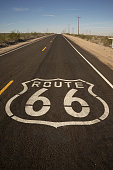 Route 66 Black Aphalt Two Lane Historic Highway
