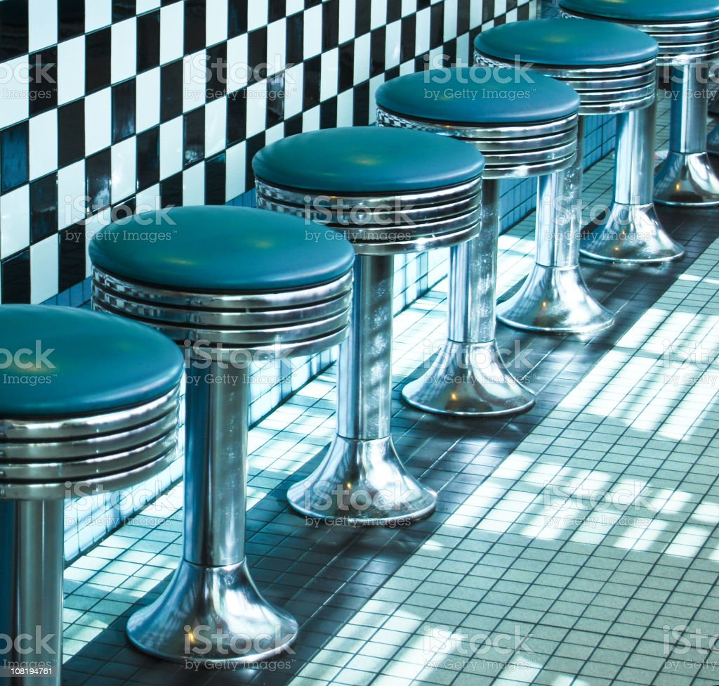 Route 66 Classic Retro Diner Stools stock photo