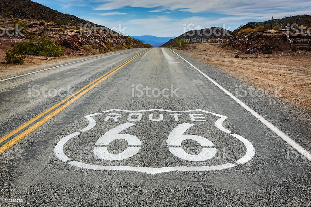 Route 66 - Desert Highway stock photo
