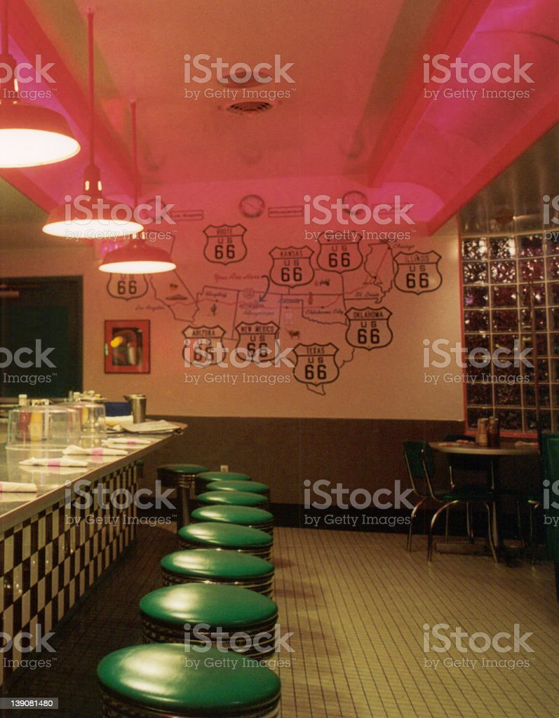 Route 66 Diner Interior royalty-free stock photo