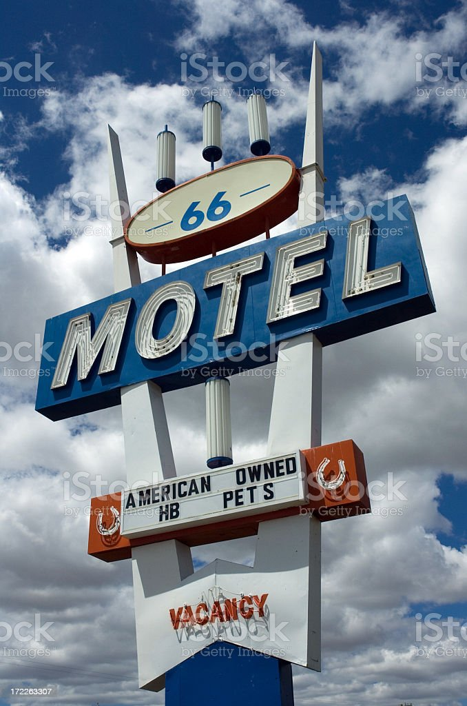 Route 66 hotel sign royalty-free stock photo