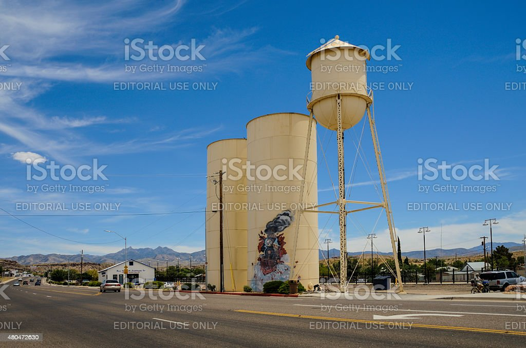 Route 66, Kingman, old water tower and storage tanks stock photo