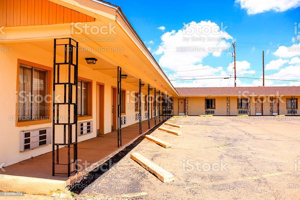 Route 66 Motel Safari guest rooms in Tucumcari New Mexico stock photo