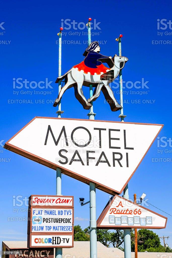 Route 66 Motel Safari sign in Tucumcari, New Mexico stock photo