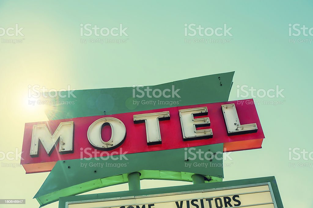 Route 66 Motel Vacancy road sign stock photo